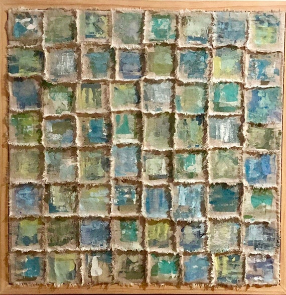 Springtime: painted and torn fabric wallhanging in greens and blues