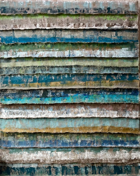Layers: painted and torn horizontal fabric strips wallhanging in dark blues and taupes
