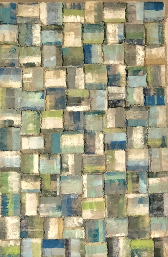 Plaid: Torn and painted fabric art in blues and greens