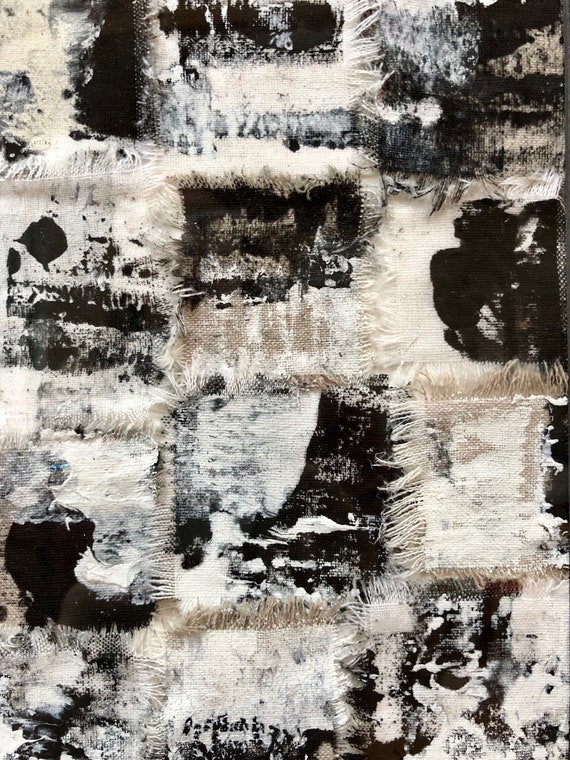 Abtstract: black and white fabric art