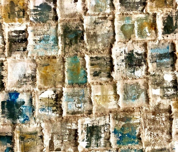 Ocean: Torn and painted fabric tapestry