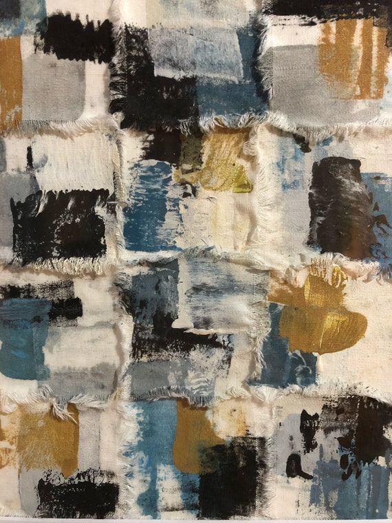 Abstract: blue, black and gold fabric art