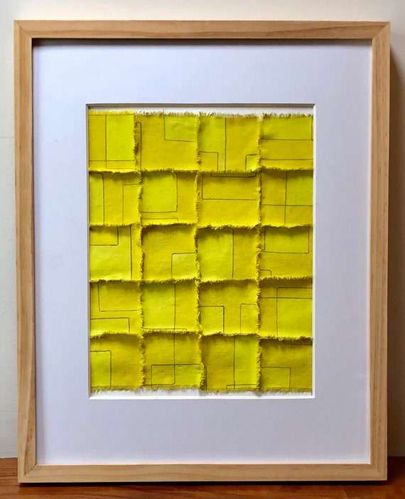 Yellow grid: Line drawn pencil on painted fabric