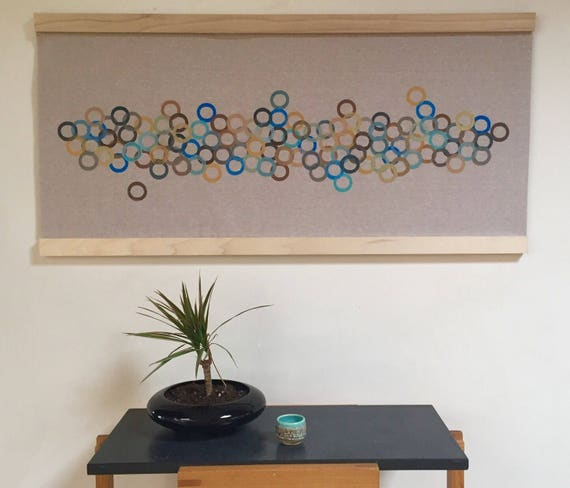 Meander: Block printed wall hanging in blues, greens and browns