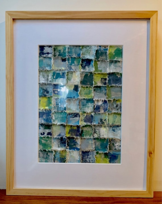 Sea: Torn and painted fabric art in blues and greens