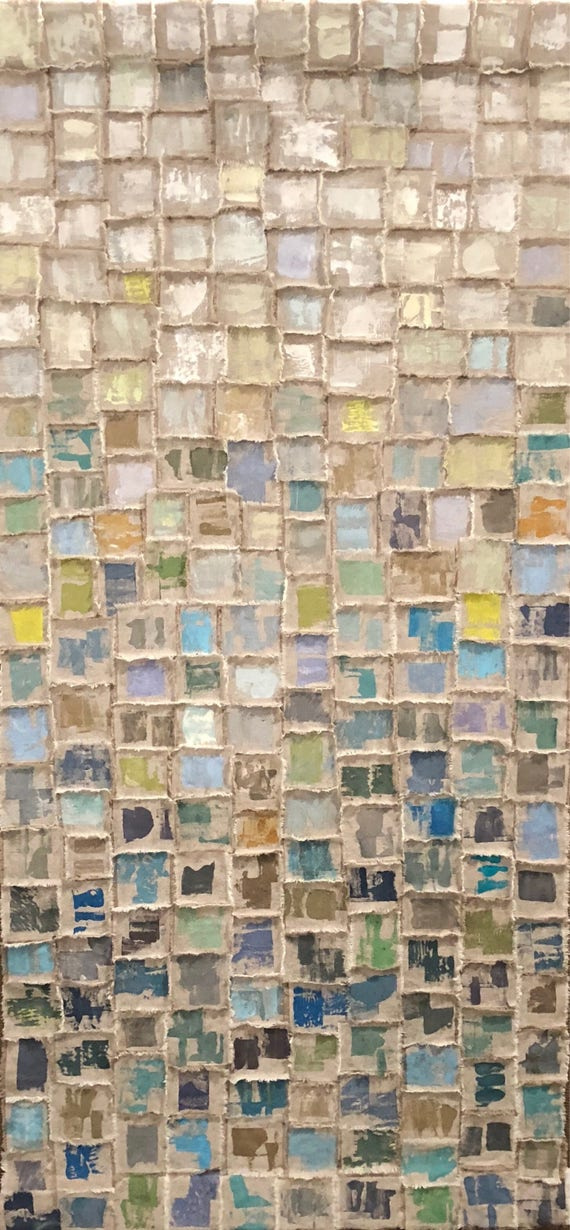 Horizon: Torn and painted fabric tapestry in blues, greens, grays, golds and whites.