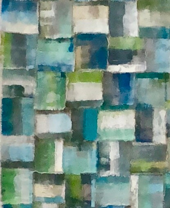 Plaid: Torn and painted fabric tapestry