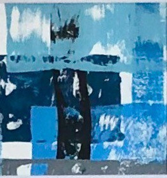 Abstract: blue and black original paintings on paper-set of three.