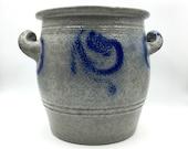 Stoneware Pot. Primitive Stoneware Crock. Utensil Holder. Salt Glazed Stoneware Jar. Cobalt Blue Pottery. Betschdorf. Kitchen Storage