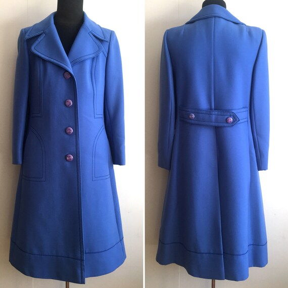 Vintage Vintage Sixties Blue Vintage CoatWool Sixties Manteau Blue Manteau CoatWool Blue wvmyN8n0O
