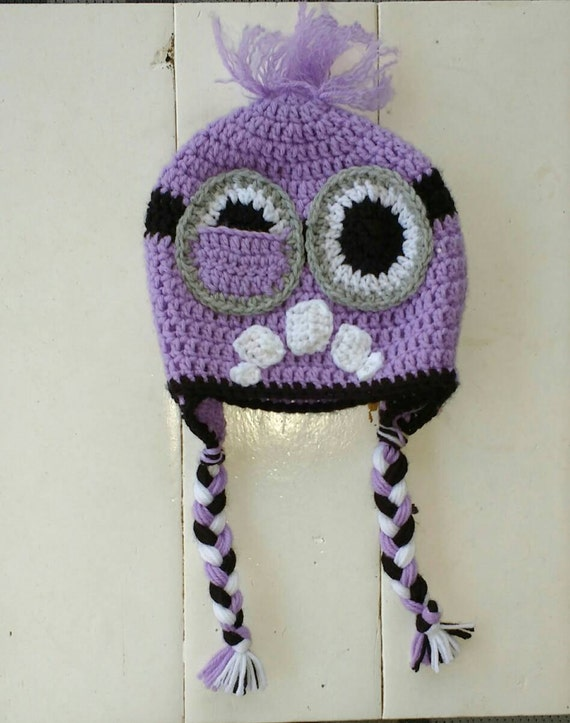 Purple Minion Hat Crochet Hat Two Eyed Purple Minion Baby
