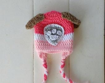 Paw patrol hat, Skye hat, Skye paw patrol, crochet hat, baby, toddler, child crochet hat, character crochet earflap hat. Sky hat, Halloween