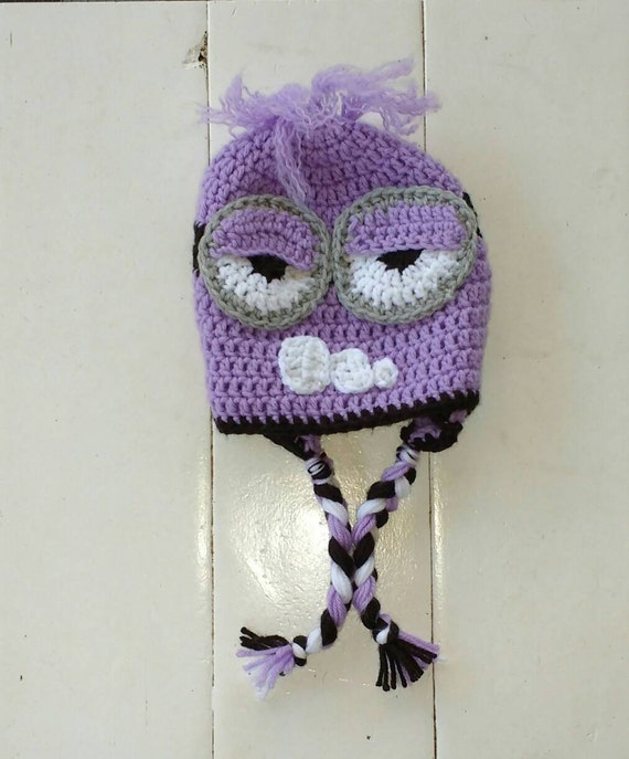 Purple Minion Hat Crochet Hat Two Eyed Purple Minion Baby Etsy