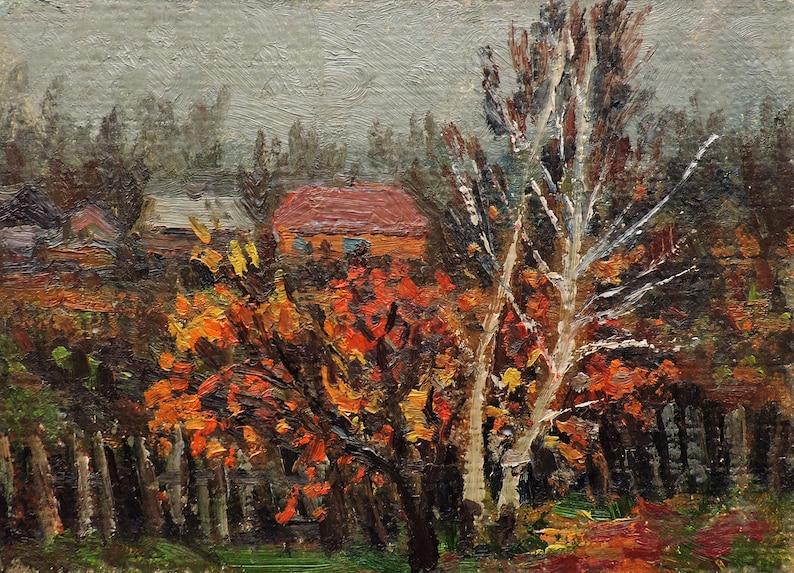 Country painting 1960s Impressionist art Farmhouse AUTUMN RURAL LANDSCAPE Vintage Oil Original Painting by Soviet artist V.Vlasov Trees