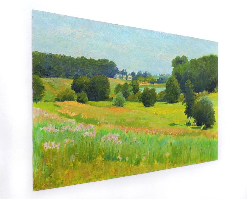 SUMMER LANDSCAPE Vintage original oil painting by Soviet Ukrainian artist M.Chaliy Woodland scenery Lake in the forest Meadows landscape