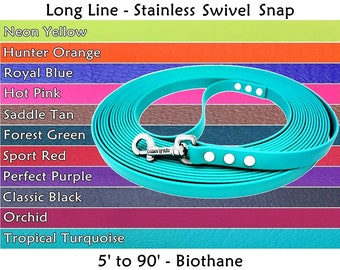 Biothane Leash, Long Line, Waterproof Dog Leash, Nose Work Lead, Biothane Tracking Line, Training Lead, Tracking Leash, Scent Work Leash