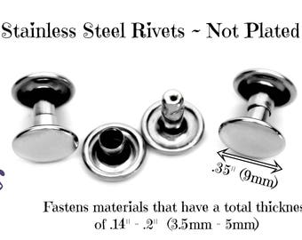"""Stainless Steel Rivets, Double Cap Rivets, Rivets for  Leather, Rivets for Biothane, Stainless Fasteners, Stainless Rivets, .35"""" diameter"""