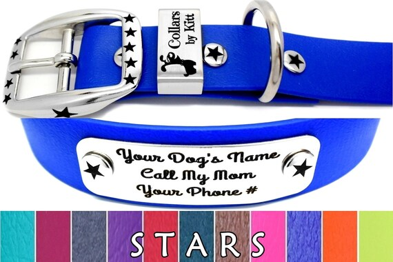 Personalized Dog Collar, Biothane Collar and Name Plate, Special Edition STARS Dog Collar, Biothane & Stainless Steel, Waterproof Dog Collar