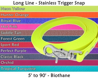 Biothane Leash, Long Line, Waterproof Dog Leash, Nose Work Lead, Biothane Tracking Line, Tracking Leash, Scent Work, Stainless Trigger Snap