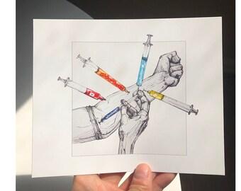 Social media addiction art print handmade illustration