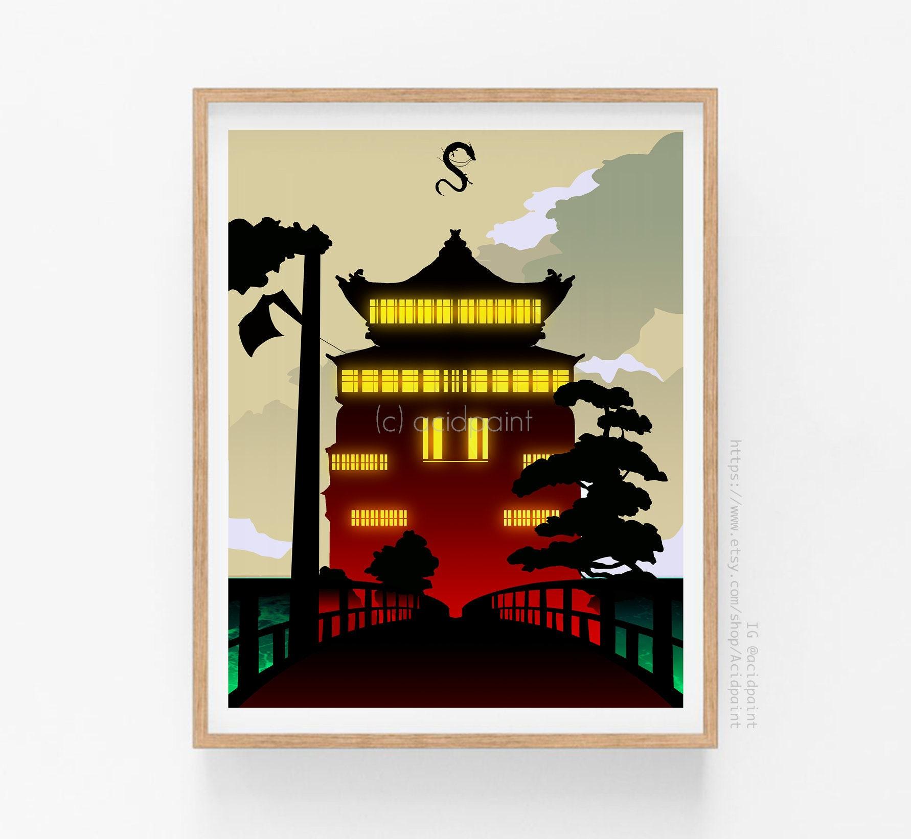 Studio Ghibli Prints Spirited Away Poster Bathhouse Chihiro Etsy
