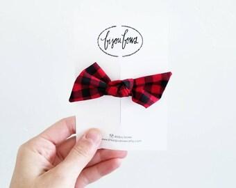 Red Check Knot Headband/Clip