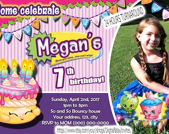 Shopkins Birthday Invitation With Picture Custom Made Digital