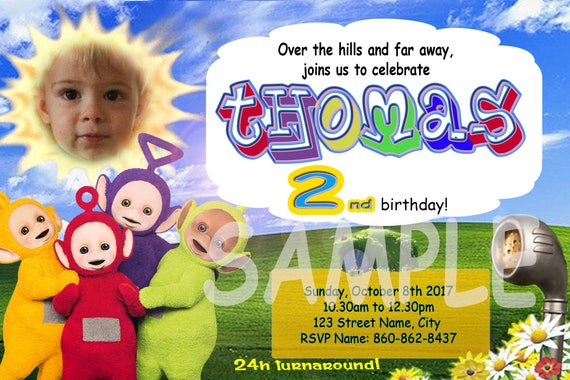 Teletubbies Invitation With Picture Free Thank You Card Etsy