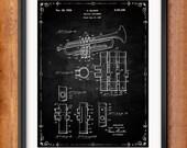 Printable Selmer Trumpet Patent Decor Decorations Musician Gift Digital Download Wall Art Music Decor Music Gifts Blueprint Clip Art 1035