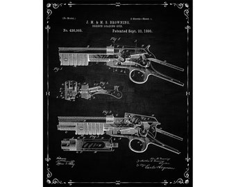 Shotgun blueprint etsy browning breech loading rifle breech loading gun print vintage shotgun poster retro antique gun decor wall art gun blueprint malvernweather Choice Image