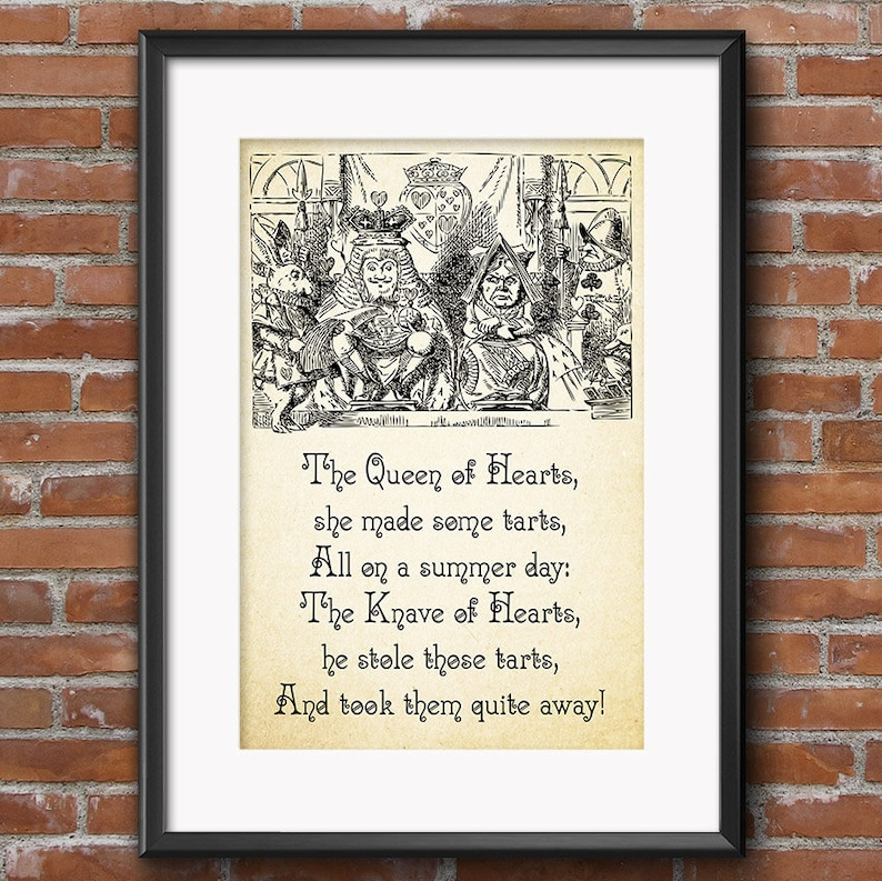 Alice In Wonderland Quotes Queen Of Hearts Poem The Knave Of Etsy