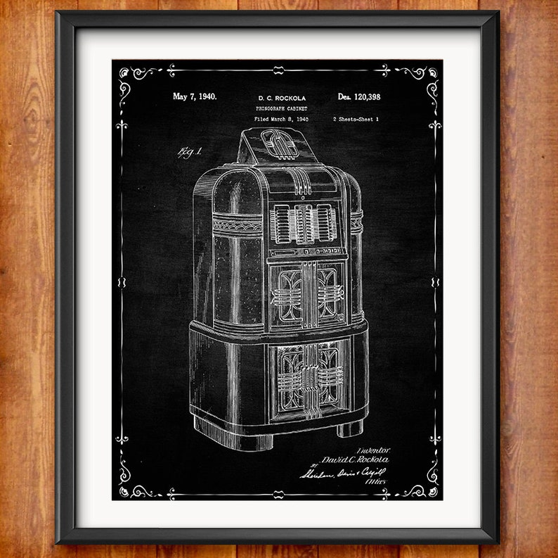 Printable Rock-Ola Jukebox Patent Decor Decorations Gift Digital Download  Wall Art Music Decor Gifts Rockola Blueprint Clip Art 1026
