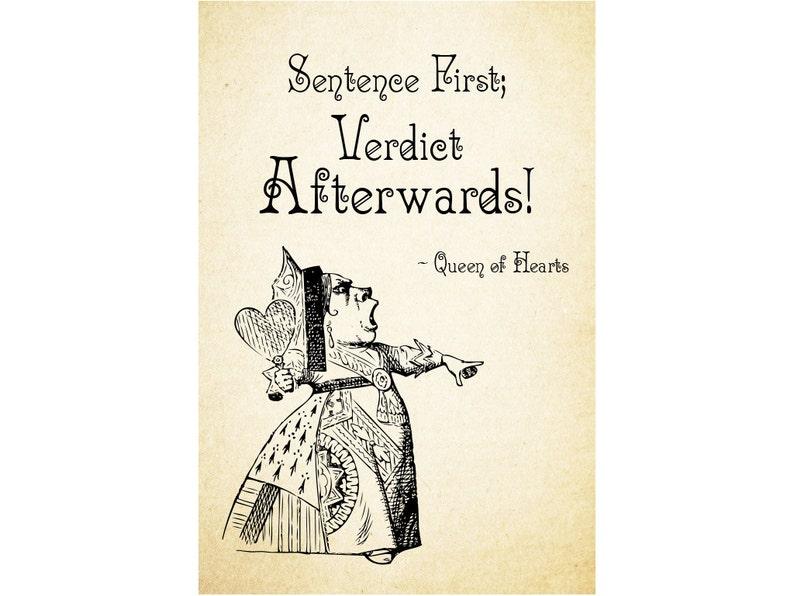Queen Of Hearts Sentence First Verdict Afterwards Alice Etsy