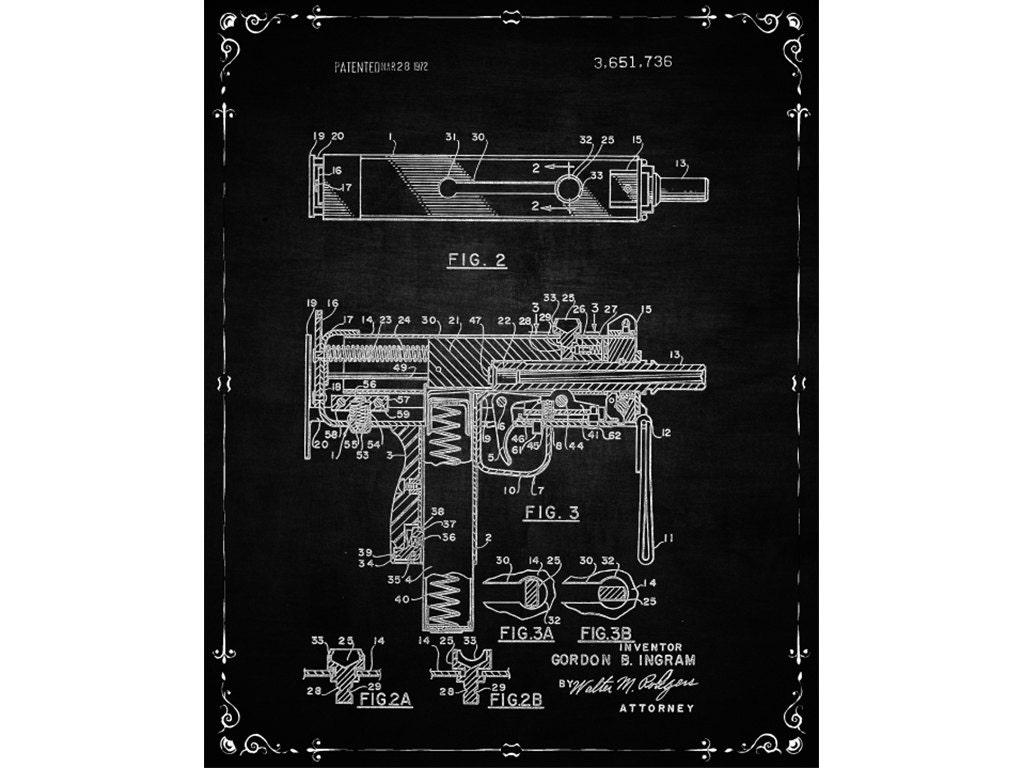 Patent Print Uzi Automatic Rifle Prop Vintage Etsy Schematic 50