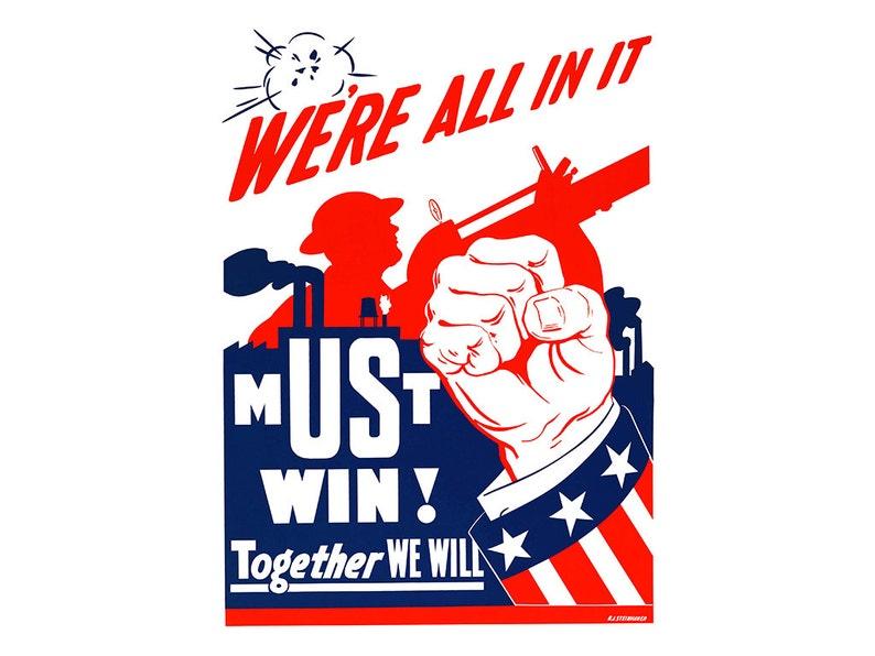 Rocznika Ii Wojny światowej Plakat Factory Worker Vintage Wujek Sam Wojna Digital Plakat Armia Wojskowa Niemiecki Czerwony Biały Niebieski 4