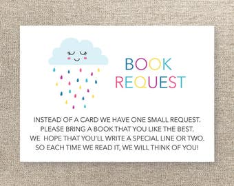 Baby Shower Book Request Card - Instant Download - Rain Shower Book Request - Baby Shower Rain Theme Book Request - Rain Cloud Book Request