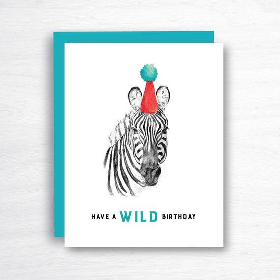 Zebra Birthday Card Animal Birthday Card Birthday Card Set Etsy