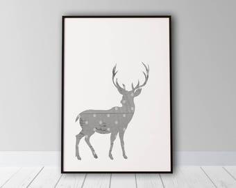 Christmas Deer Printable, Printable Art, Christmas Printable, Deer Printable, Christmas Deer, Wood Wall Art, Christmas Decor, Polka Dot Art