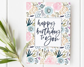 Floral Birthday Card Printable Watercolor Cards Happy Pretty