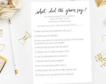 Bridal Shower Game, What Did The Groom Say, Groom Game, Funny Bridal Shower Game, Printable Bridal Shower Games, Printable Games