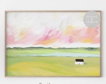 Pink Sunset Landscape Print