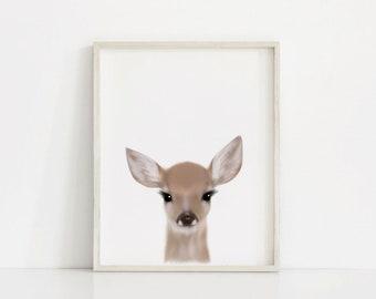 Deer Print, Baby Animal Prints, Baby Animal Nursery, Printable Art, Baby deer print, Nursery decor, Animal art, Fawn print, Baby animals