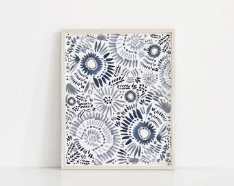 Blue Floral Art Print, Floral Watercolor Print, Watercolor Printable, Blue Floral Art, Printable Art, Watercolor Prints, Blue Floral Print