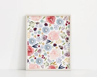 Floral Watercolor Printable, Printable Art, Floral Blooms Print, Floral Wall Art Print, Girls Room Decor, Nursery Decor, Floral Art Print