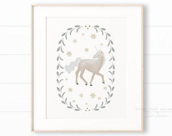 Unicorn Art Print, Unicorn Wall Art, Printable Unicorn, Girls Bedroom Decor, Whimsical Wall Art, Nursery Prints, Girl Nursery Art