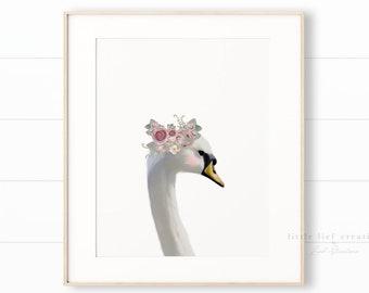 Floral Crown Swan Print