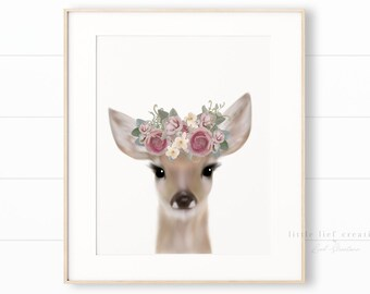 Floral Crown Deer Print