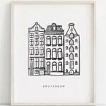 Amsterdam Print, City Wall Art, City Illustration, Dutch Houses, Amsterdam Houses, City Print, Black White Illustration, Amsterdam Art