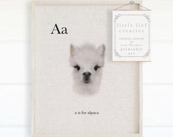 Alphabet Animals, Alpaca Nursery Print, Farm Animals Prints, Alpaca Printable, Alphabet Poster, Alphabet Prints, Baby Animals Prints