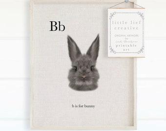 Cute Bunny Print, Bunny Printable, Animal Alphabet Print, Cute Nursery Decor, Cute Wall Art, Bunny Print, Alphabet Poster, Kids Room Decor